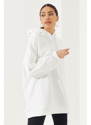 Reyon REYON Kadın Oversize Kapüşonlu Sweatshirt Beyaz Beyaz